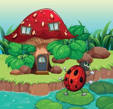 A bug dancing near the mushroom house