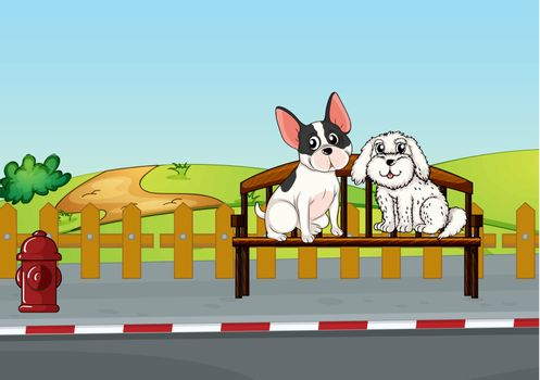 Illustration of animals sitting at the bench