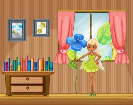 A fairy holding a flower inside the house