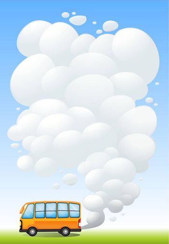 Illustration of an orange bus emitting smoke