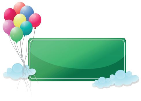 A green signage with balloons