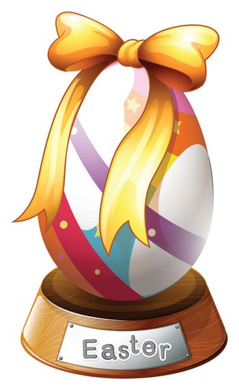 Illustration of an Easter egg trophy on a white background