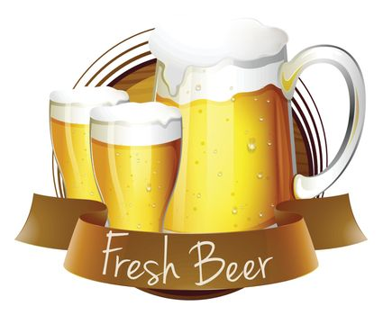 Illustration of a fresh beer label with a pitcher and glasses of beer on a white background