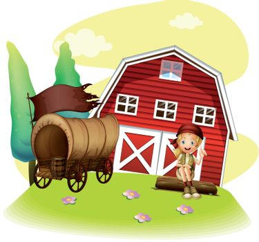 Illustration of a wagon and a girl in front of the barnhouse on a white background