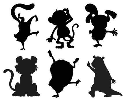 Illustration of the silhouettes of animals in black and gray colors on a white background