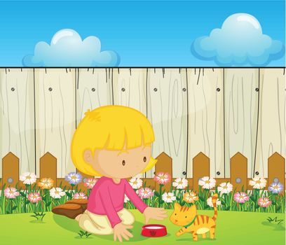 Illustration of a girl feeding the cat inside the fence