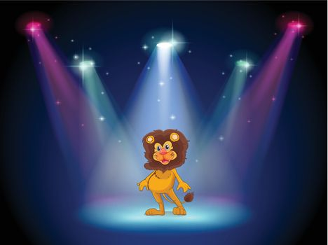 Illustration of a stage with a brave lion in the middle