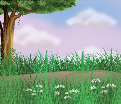 Illustration of grasses along the road