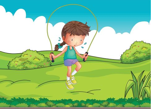 Illustration of a girl playing jumping rope at the top of the hill