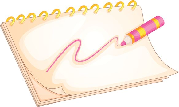 Illustration of a notebook and color pen on a white background
