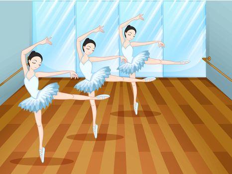 Illustration of the three ballet dancers inside the studio
