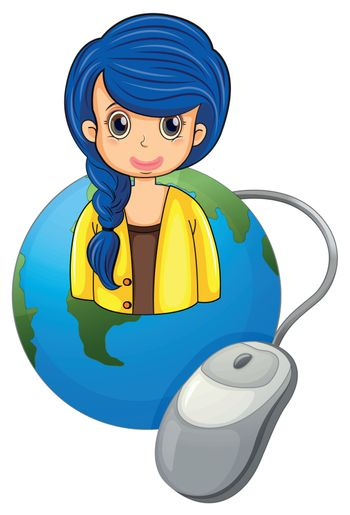 Illustration of a globe with a businesswoman and a computer mouse on a white background