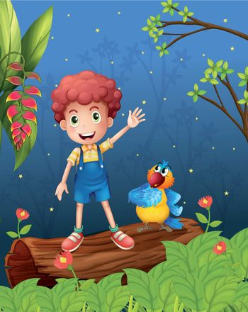 Illustration of a boy and a parrot in the woods