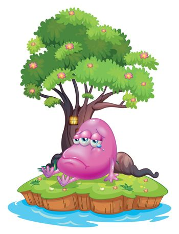 Illustration of a pink monster crying in the island on a white background