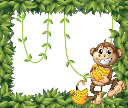 Illustration of a happy monkey holding bananas on a white background