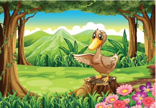 Illustration of a duck above the stump at the forest