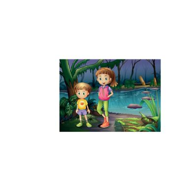 Illustration of a boy and a girl standing in the middle of the forest