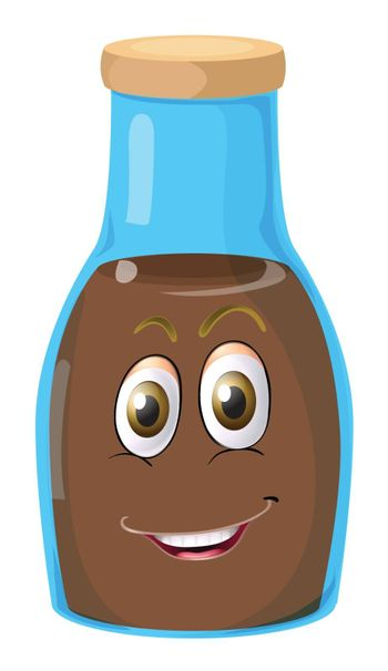 illustration of a face on a bottle on a white background