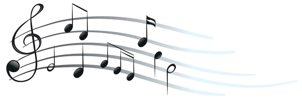 Illustration of the musical notes and symbols on a white background