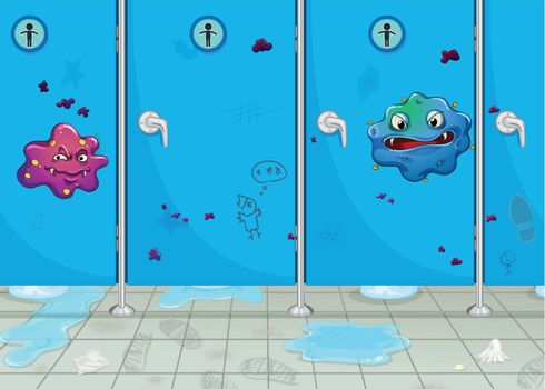 illustration of doors of wash-room and a monster