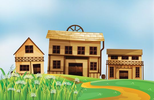 Illustration of the three different styles of wooden houses