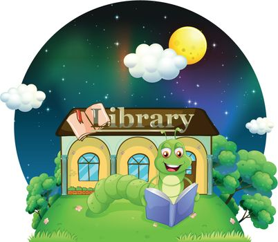 Illustration of a worm reading a book in front of the library on a white background