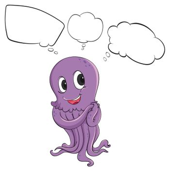Illustration of a purple octopus thinking on a white background