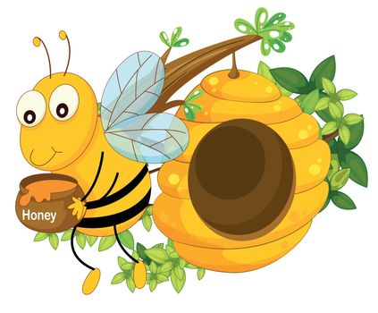 Illustration of a bee holding a pot of honey near the beehive on a white background