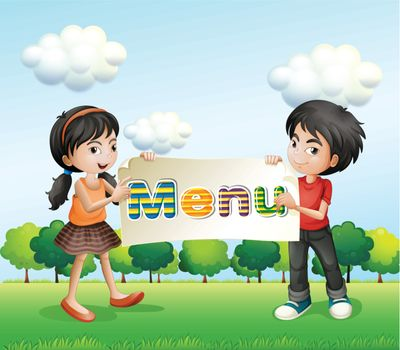 Illustration of a girl and a boy holding a signboard