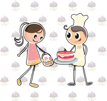Illustration of a girl with a basket of flowers and a boy with a cake on a white background