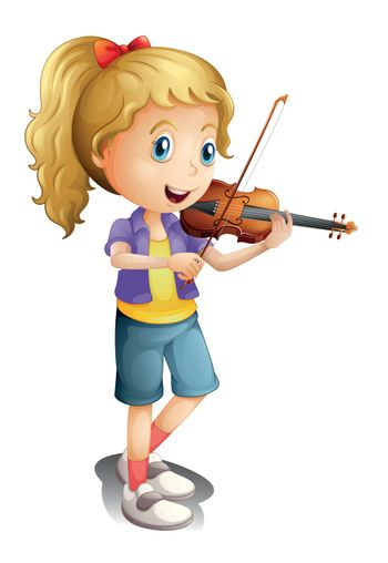 Illustration of a girl playing with her violin on a white background