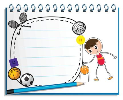 Illustration of a notebook with a drawing of a boy with the different sports accessories on a white background