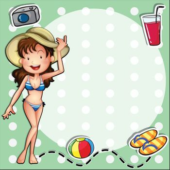 Illustration of a girl wearing a bikini with a hat