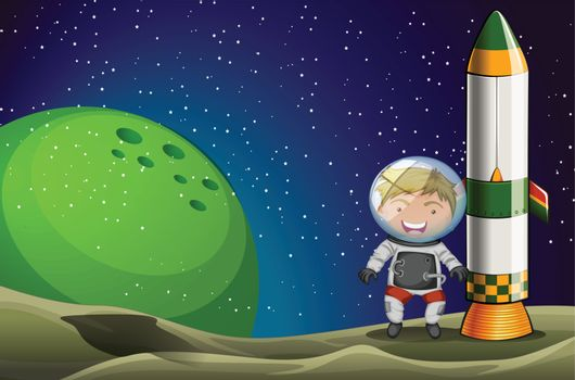 Illustration of a man in the space standing beside the rocket