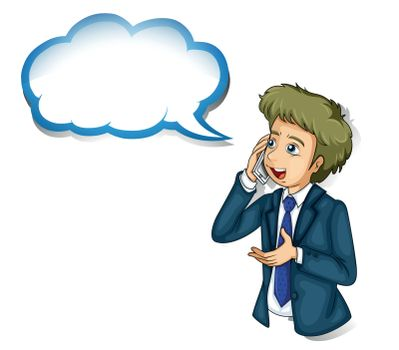 Illustration of a businessman talking over the phone with an empty callout on a white background