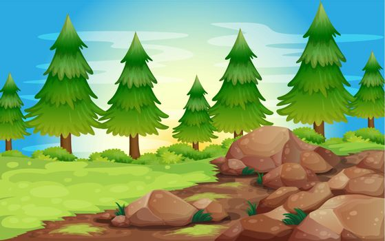 Illustration of the big stones and pine trees