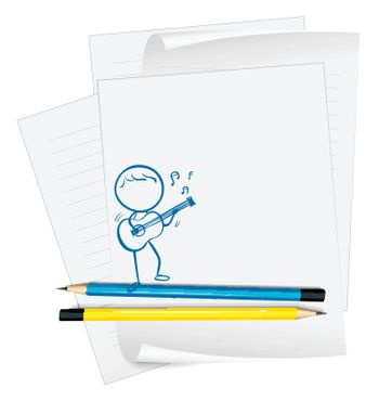 Illustration of a paper with a sketch of a musician with a guitar on a white background
