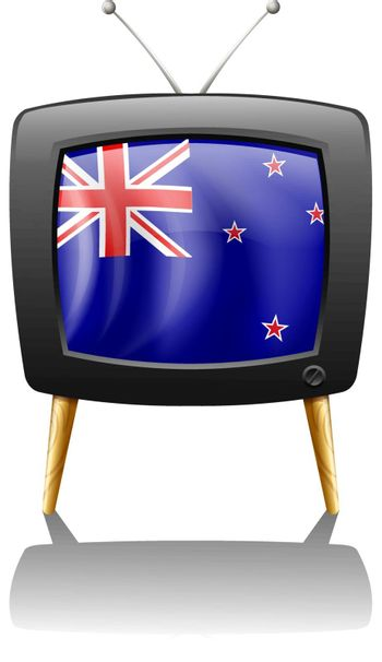 Illustration of the flag of New Zealand inside the television on a white background