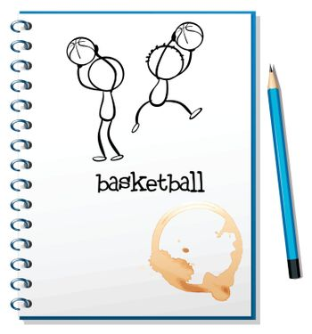 Illustration of a notebook with a sketch of the basketball players on a white background