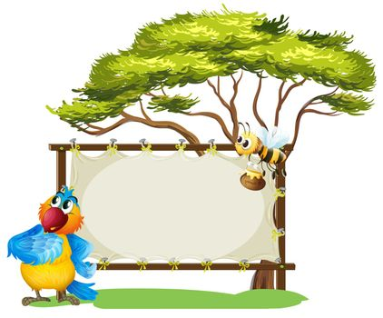 Illustration of a parrot and a bee near an empty signage on a white background