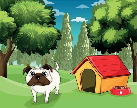 Illustration of a white bulldog with a dog food outside his dog house