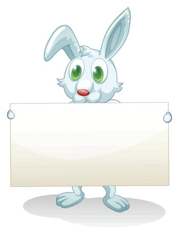 Illustration of a bunny holding an empty banner on a white background