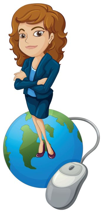 Illustration of a woman above the globe with a computer mouse on a white background