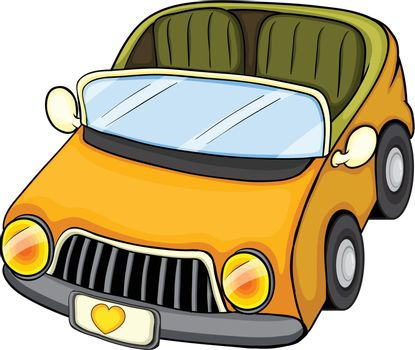 Illustration of a yellow toy car on a white background