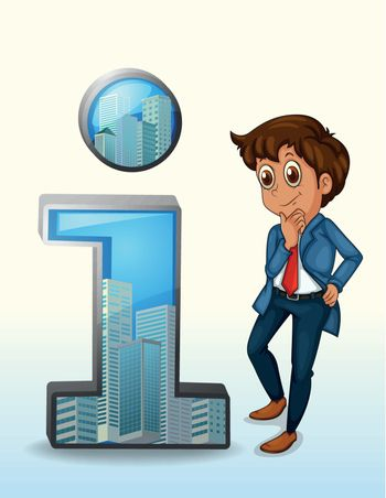 Illustration of a businessman thinking beside the number one figure on a white background