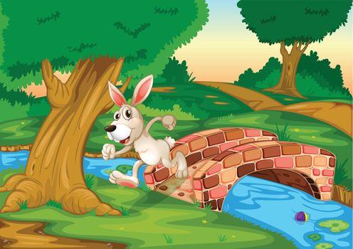 Illustration of a bunny running across the bridge