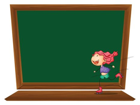 Illustration of a blackboard with a girl skating on a white background