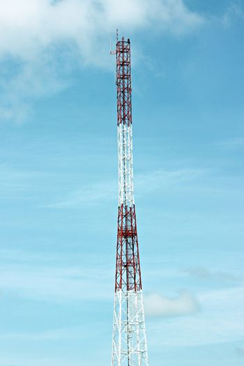 The Picture Focus Antenna array telephone and mobile on blue sky.