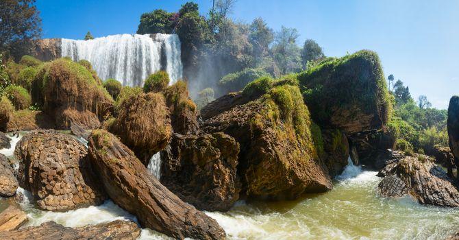 Elephant waterfall in Vietnam panorama