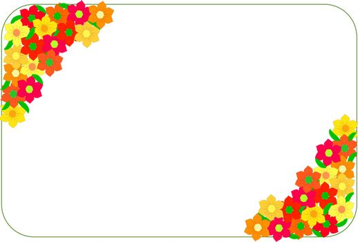 Corner frame made of red and yellow flowers. Border made of flowers-carnations,firget-me-nots,gerbera,asters isolated on a white background